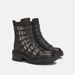 NWT Zara Biker Leather Ankle Boots